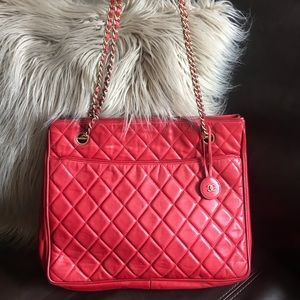Authentic CHANEL red Quilted Lambskin bag